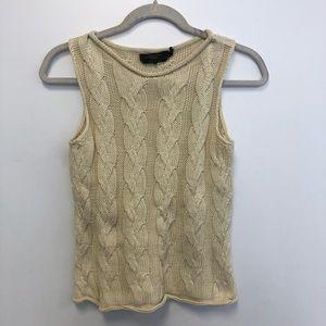 MaxMara Weekend Cream Sleeveless Cableknit Sweater